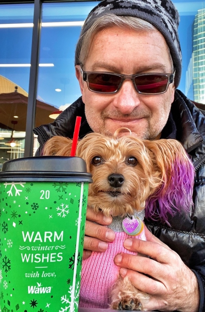 Coffee talk time in Philadelphia with puppy Macy Jane