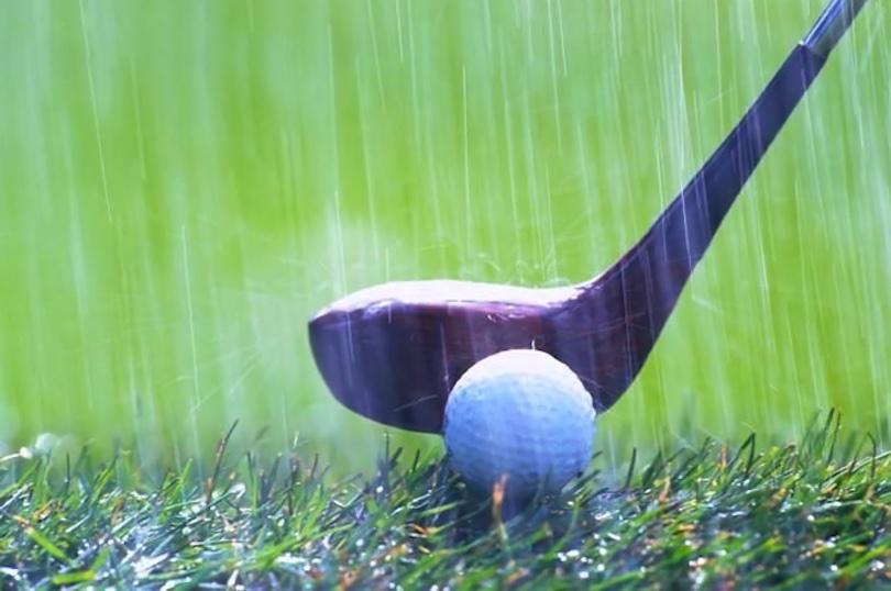 golf club in rain