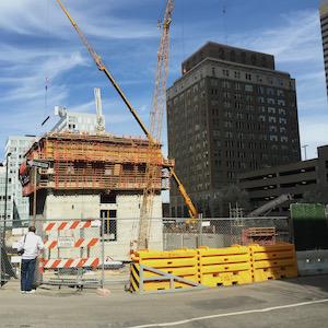 Comcast Tower construction, April 2015