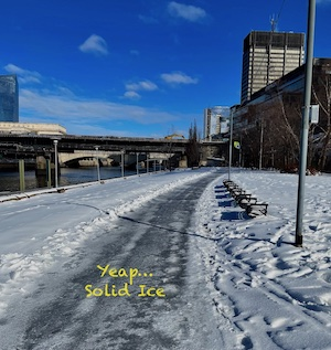 Schuykill Trail covered with ice in Phialdelphia