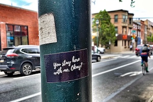Sticker on street pole