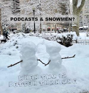 two snowmen in park