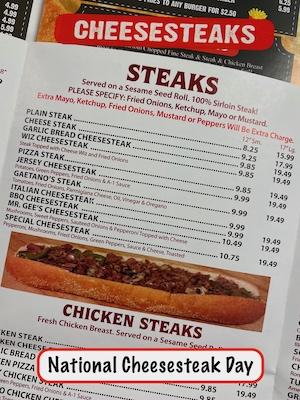 Cheesesteak menu from local restaurant in Philadelphia