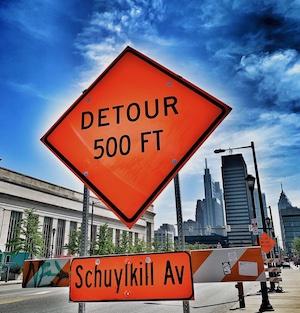 detour sign in Philadelphia
