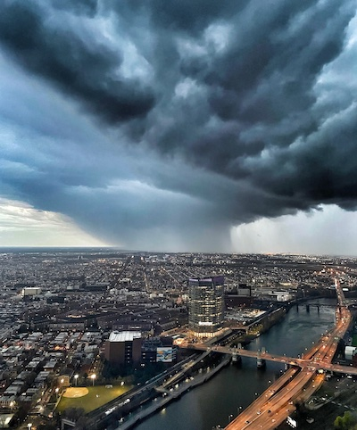 Spring storm over Philadelphia