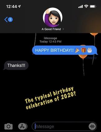 screen shot of happy birthday wish on iPhone