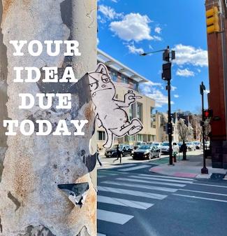 idea deadline image on street pole in Philadelphia