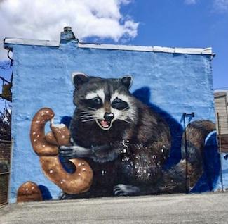 Street mural art of a raccoon with a pretzel in Philadelphia