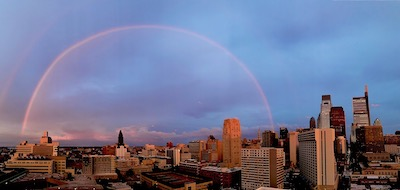 full rainbow over Philadelphia USA