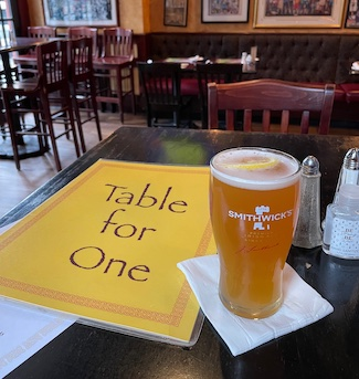 Dining alone at a restaurant or bar