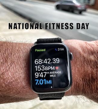 Apple Watch showing run data