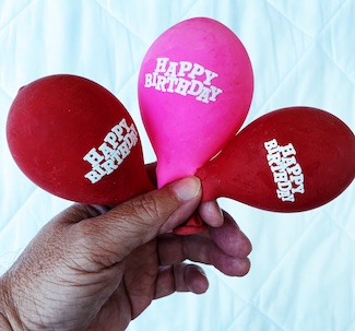 deflated birthday balloons