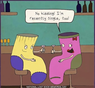 cartoon of single socks at a bar