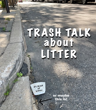 Street corner and curb with litter
