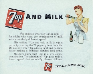 1948 print ad for 7Up, suggesting to mix with milk