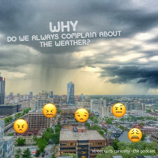 city skyline with rain and emoji complaining about the weather