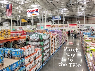 Costco store aisle with merchandise to buy