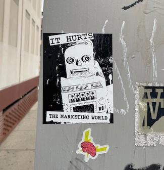 Graffiti sticker about marketing