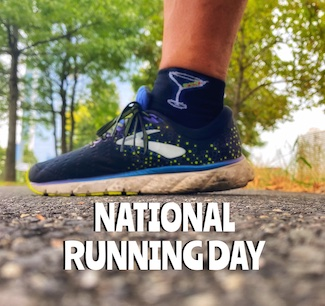 Running shoe with martini sock on national running day