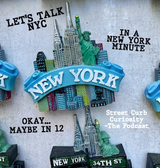 Magnet of New York City promoting a podcast by Street Curb Curiosity