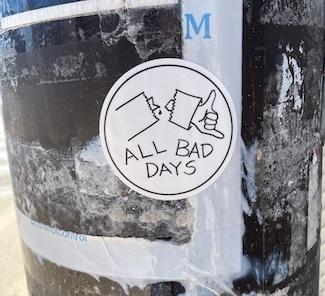 Bad day sticker on a light pole in Philadelphia USA