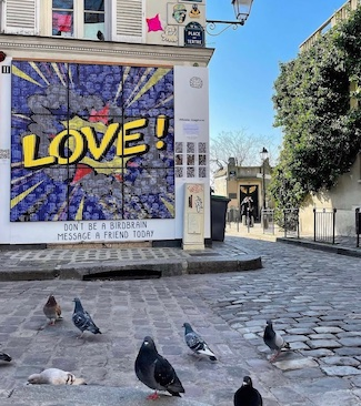 pigeons spreading some love on a UK street