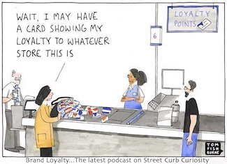 Cartoon about brand loyalty and shopping