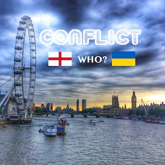 London with flags of England and Ukraine for soccer