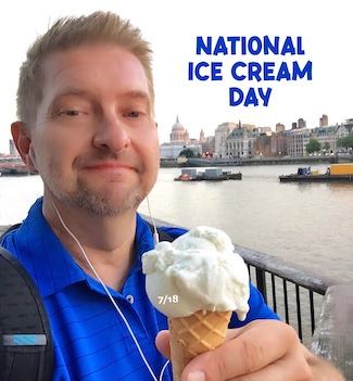 selfie image with ice cream cone in London