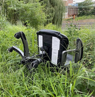 office chair out in a field