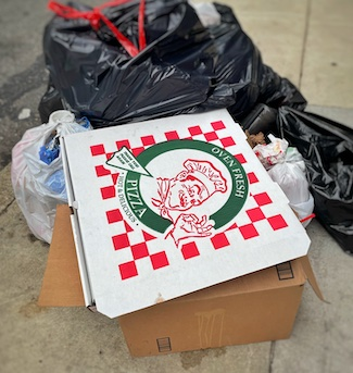 Pizza box in a pile of garbage and trash