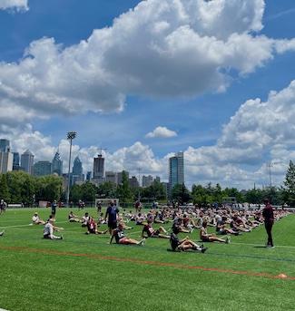 football players at the University of Pennsylvania , Penn Field