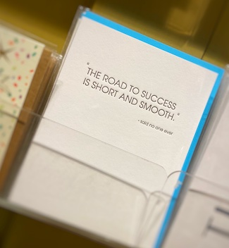 road to success quote on a greeting cards