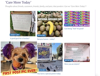 screenshot of the blog site called care more today dot com. caremoretoday.com