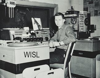 Tom Kutza in the WISL radio studios, Shamokin PA