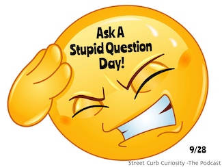 Ask a stupid question day celebration with a podcast and an emoji
