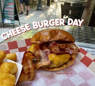 photo of a cheeseburger for National Cheeseburger Day and podcast for Street Curb Curiosity
