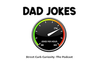 speedometer shows dad jokes per hour in podcast episode of street curb curiosity