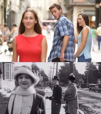 popular meme that was also popular 100 years ago via Charlie Chaplin