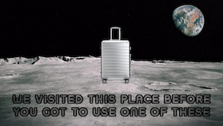 wheeled suitcase on the moon