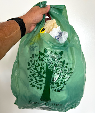 a plastic bag filled with plastic bags